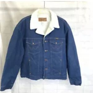 Wrangler Mens XL Jacket Denim Blue White Vintage
